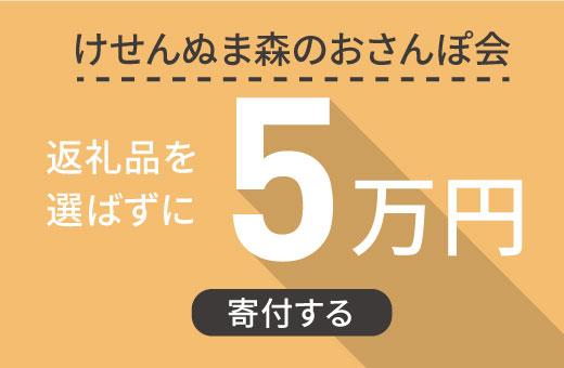 返礼品を選ばずに【けせんぬま森のおさんぽ会】に5万円寄付する